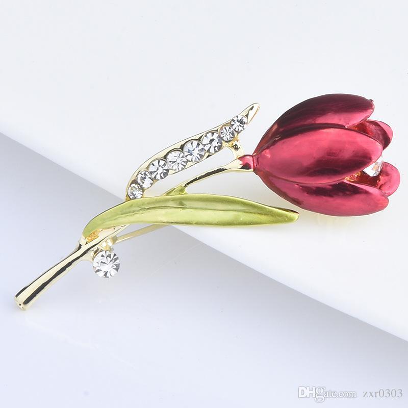 Zarif Lale Çiçek Broş Pin Kristal Kostüm Takı Elbise Aksesuarları Takı kadın hediye Düğün Için Broşlar
