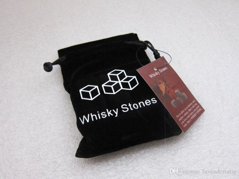 Vrij door zee 100% natuurlijke 6 kleuren whisky stenen / 9 stks / zak whisky steen wijn rotsen ijs stenen bar Kerst Valentine Pathed cadeau