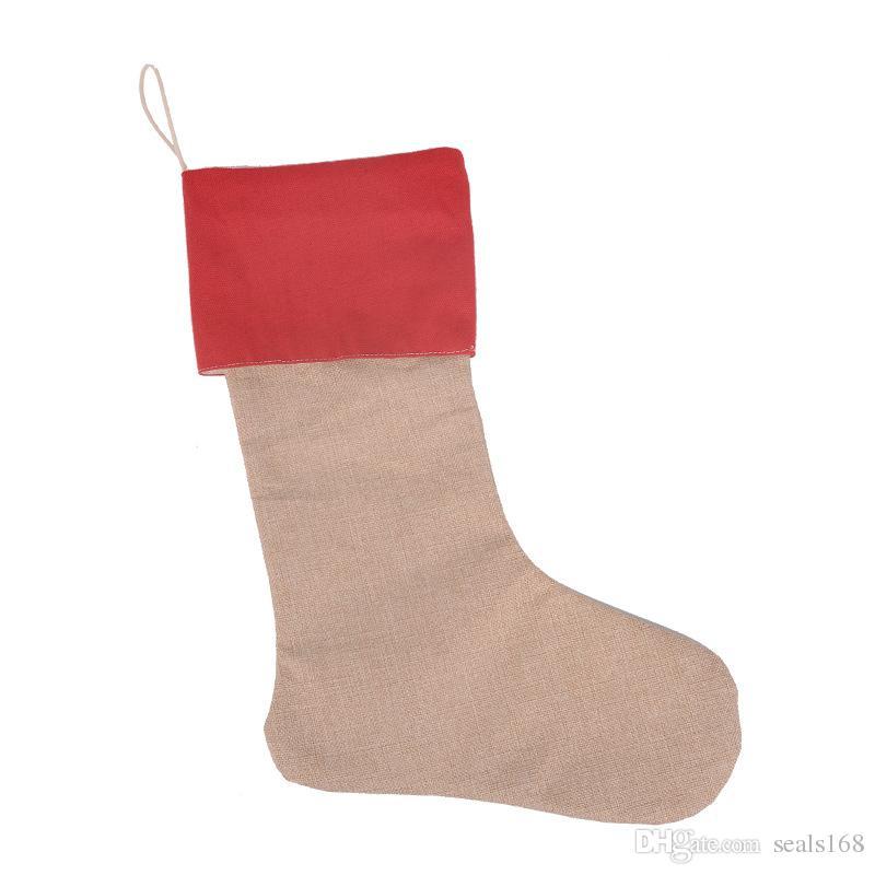 Nouvelle toile de haute qualité Bas de Noël Sacs-cadeaux Sacs-cadeaux Toile Décorations de Noël Noël Bas de Noël Grands chaussettes décoratives de jute à la plaine HH7-133