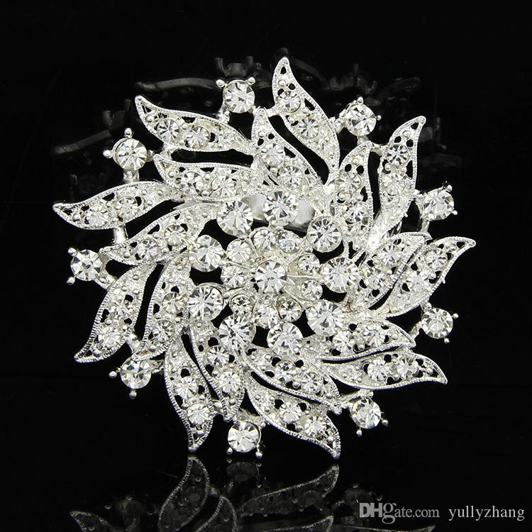 Jewelry 2016 New Fashion Crystal Flower Brooch Beautiful Design white/pink Rhinestone Brooches For Women Wedding & Party B043