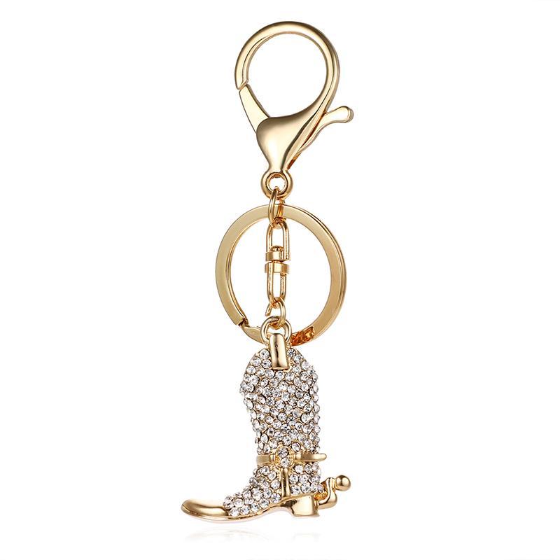 Moda 2 Kolorowe Zapięcie Lobster Keyring Dangle Rhinestone Buty Charm Metal Breloki dla Mężczyzn Akcesoria Biżuteria