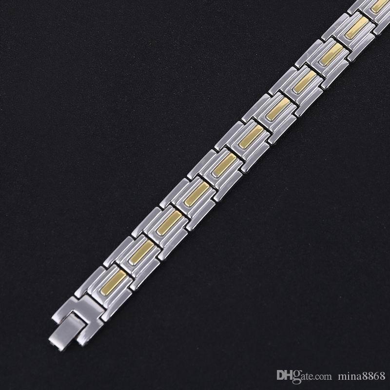 Top Quality Men's Link Chain Bracelets for Men Silver Tone Copper Engery Magnetic Bracelets Elegant Unisex Bangle Wristband Wholesale