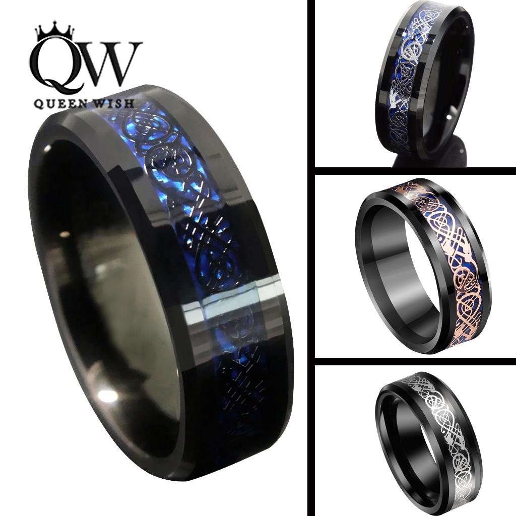 2018 Queenwish 8mm Black Blue Tungsten Carbide Rings SliverBlack