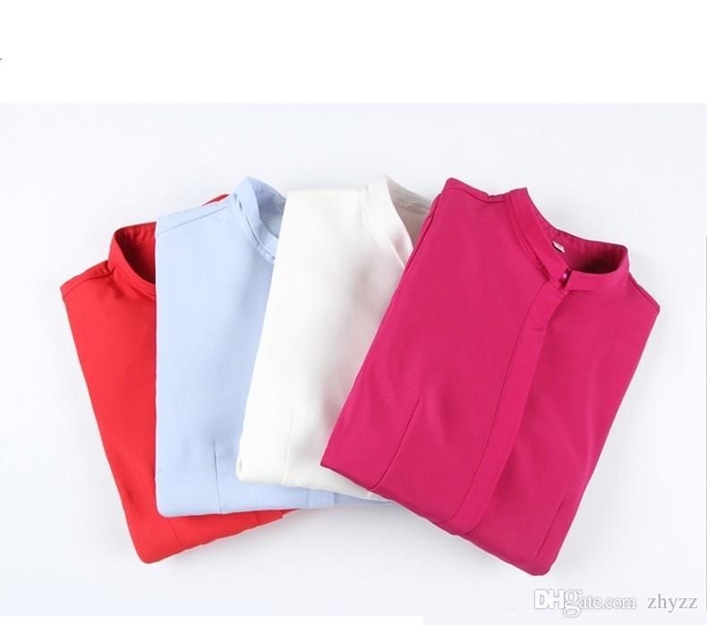Chemises de bureau de femmes chemisiers à manches longues Nouveautés 2016 coréen Tops dames élégant mousseline de soie chemises de travail rouge blanc bleu