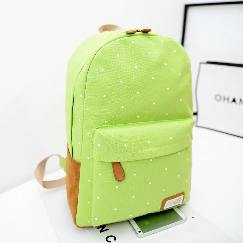 Korean style Cute double-Shoulder book Bags fashion girls women canvas Dots schoolbag middle school students backpacks