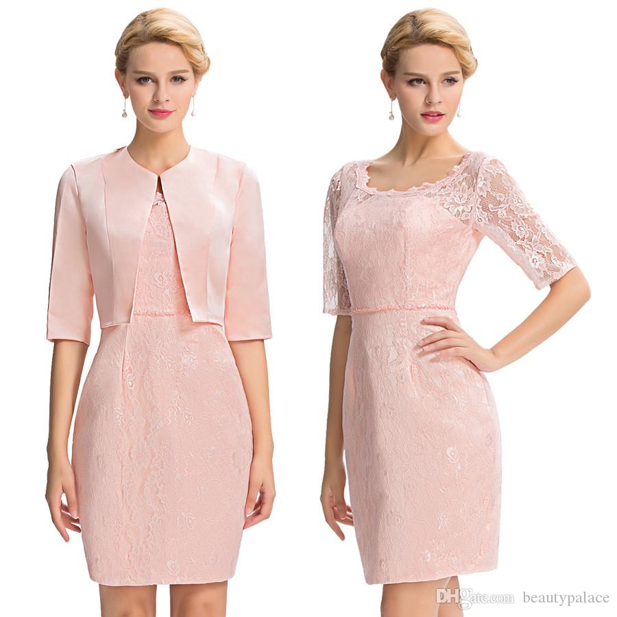 Pink Evening Dress Grace Karin Sexy Half Sleeve Lace Evening Dresses Short Bodycon Slim Party Wedding Mother Dress With Jacket