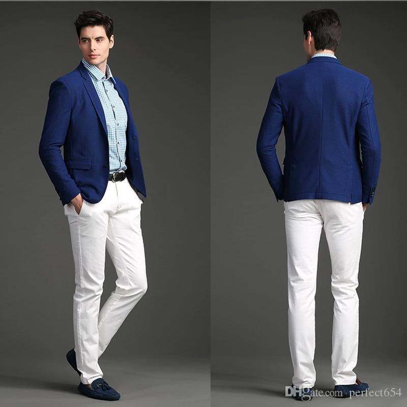 2017 Custom Made Royal Blue Jacket White Pants Wedding Suit Groom ...