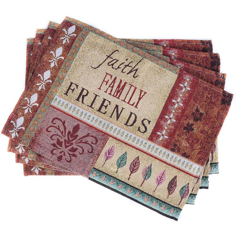 19eafcf1ba792 Wholesale- 1pcs Continental Faith Family Friends Pure Stripe Cotton  Placemat Table Mat Fabric Western Pad Coasters Pads Dining Table Mat