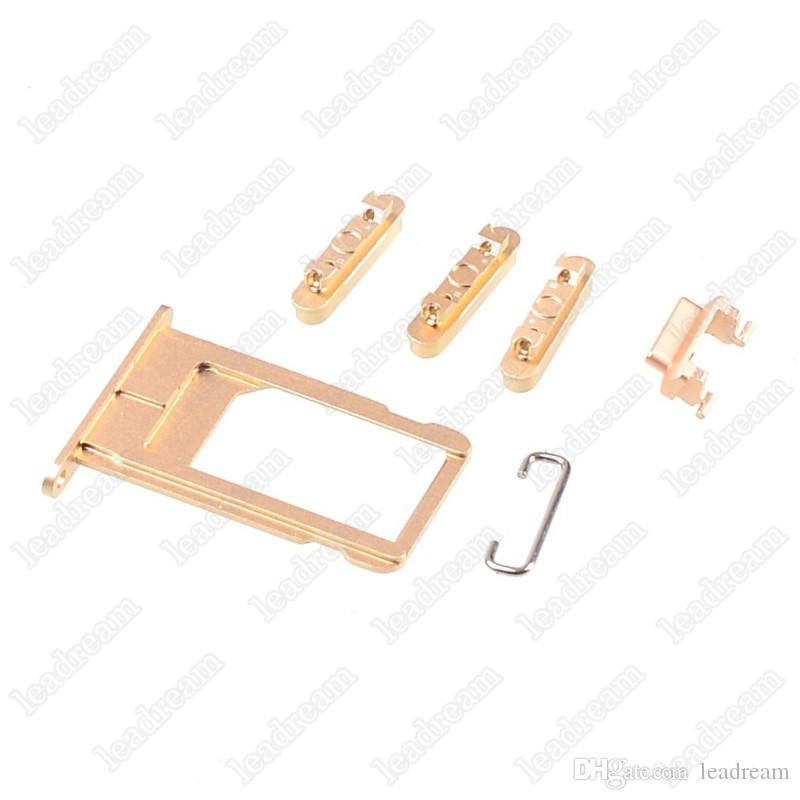 New Sim Card Tray Slot Holder + Side Buttons Sets Assembly for iPhone 6 6s Plus Mobile Phone Replacement Parts free DHL
