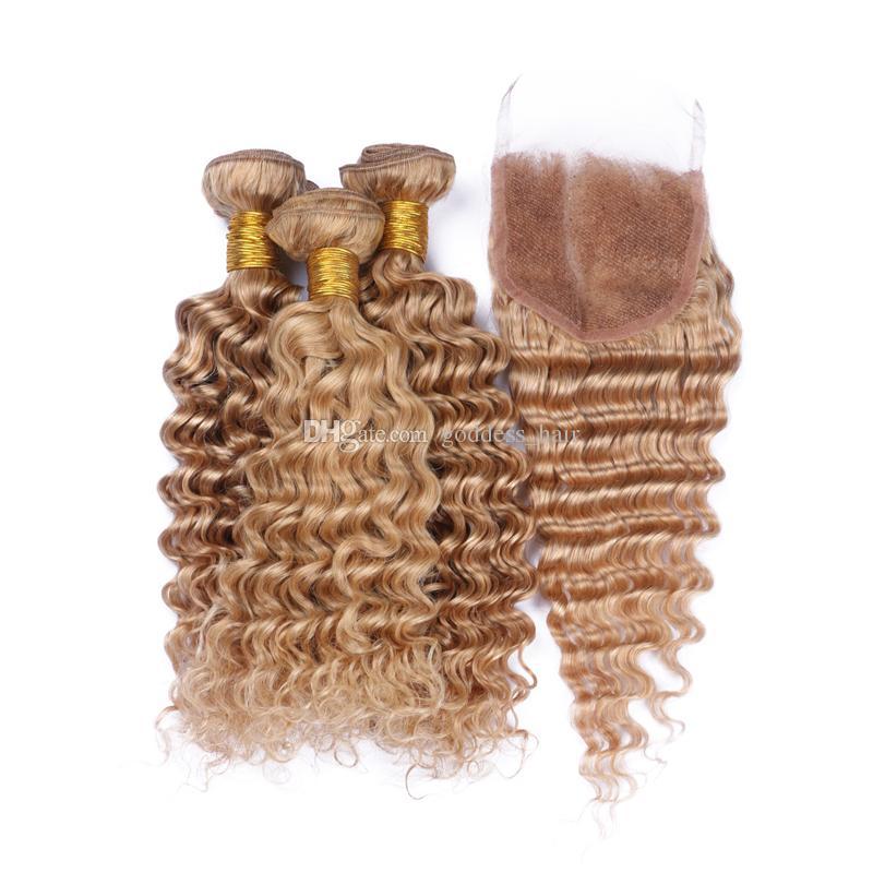 9A Brasileño # 27 Peinado para el cabello con cierre de encaje 4 unids / lote Onda profunda Hair Human Hair 3 Paquetes con cierre de encaje Free Parte