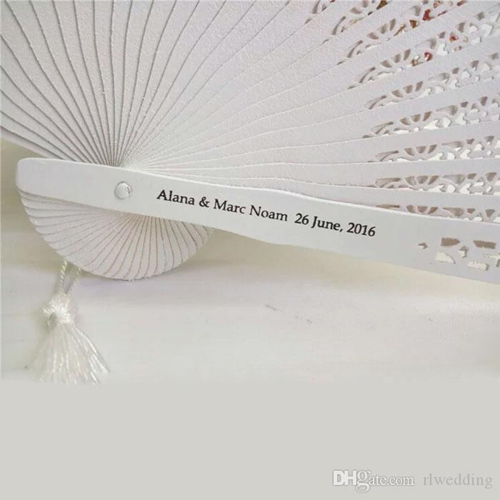 White Sandalwood Wooden Folding Hand Wedding Fan Favor Personalized Birthday Favor And Gift With Organza Bag Abanicos Para Boda