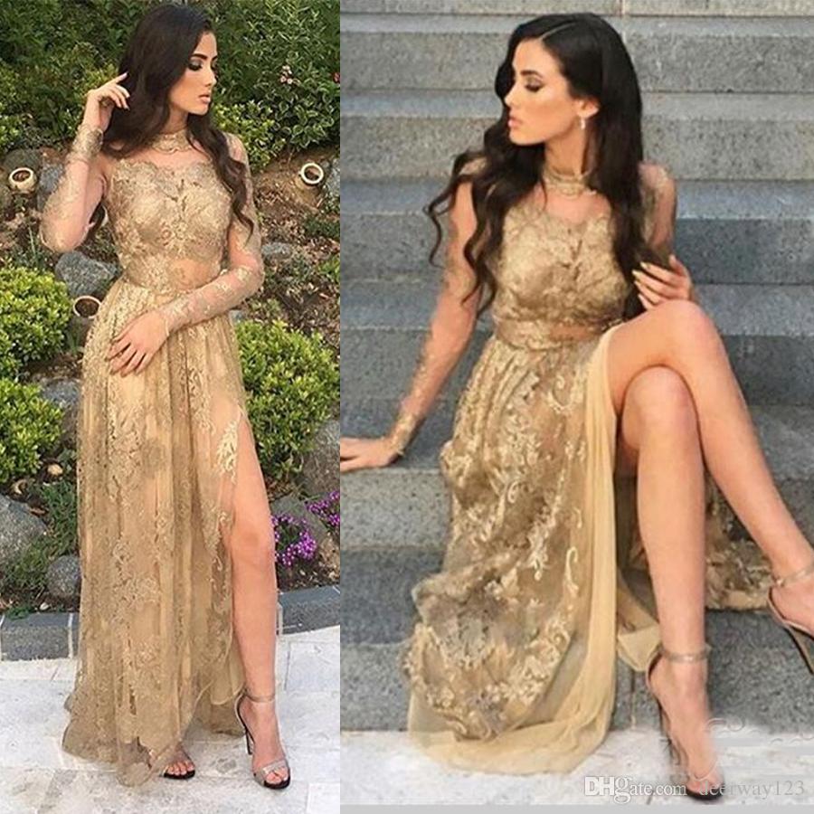 Großhandel Gold Side Slit High Neck Mit Langen Ärmeln Sexy ...