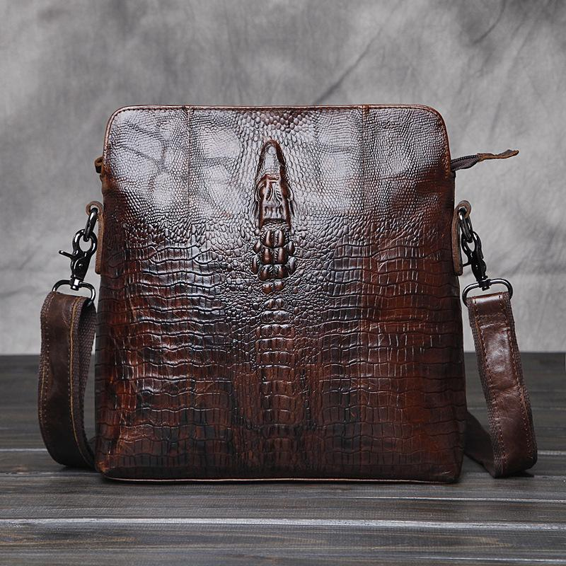 Alligator Pattern Cowhide Leather Men Bag Luxury Brand Bag Men'S ...