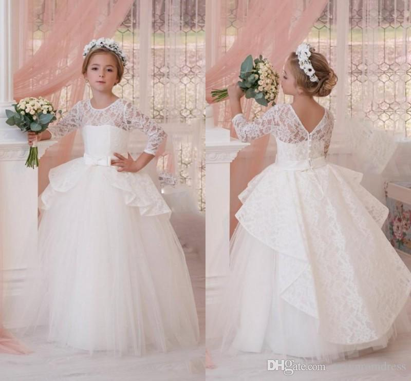 e2a65df539fb White Ball Gown Mini Wedding Dresses 2017 Lace Long Sleeve Ruched Peplum Flower  Girl Dresses Flower Length Children Prom Party Gowns Flower Girl Wedding ...
