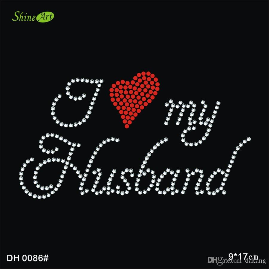 Iove my husband hot fix rhinestone applique iron on applique patches iron on crystal transfers design DIY DH0086#