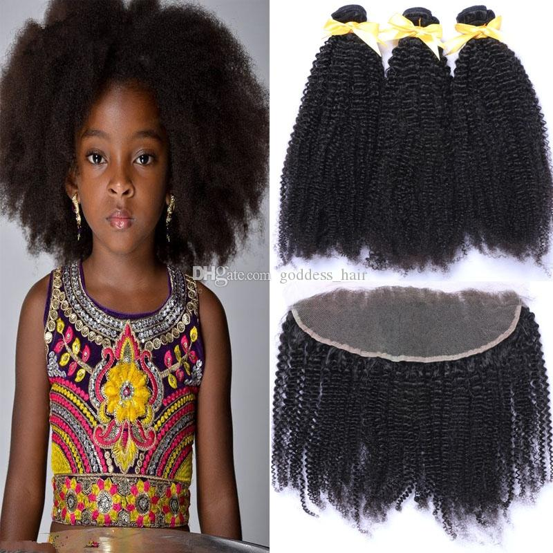 Top Selling 13x4 Afro Curly Hair Bundles With Lace Frontal Closure
