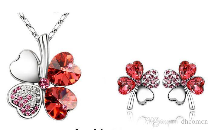 Fashion Clover Four Leaves Hearts Crystal Rhinestone Necklace 925 Silver Earring Set Austria Crystal Necklace Jewelry