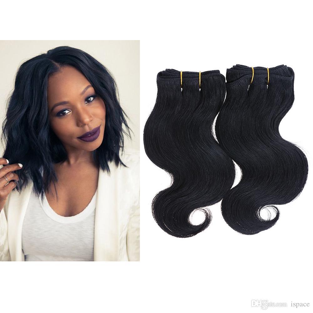 2 Bundles 100g 8\'\' 7a Human Hair Extensions Brazilian Body Wave ...
