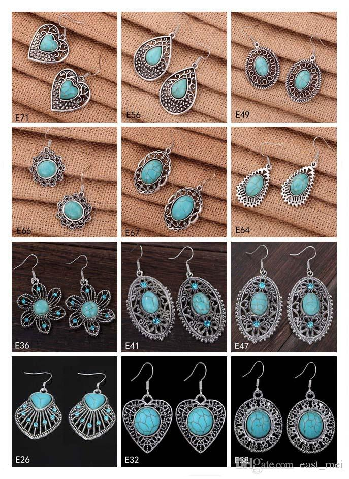 Coração oco oval Europeu Beads Dangle brinco 12 peças muito estilo misto, brinco de prata turquesa tibetana das mulheres DIY novo EMTQE2