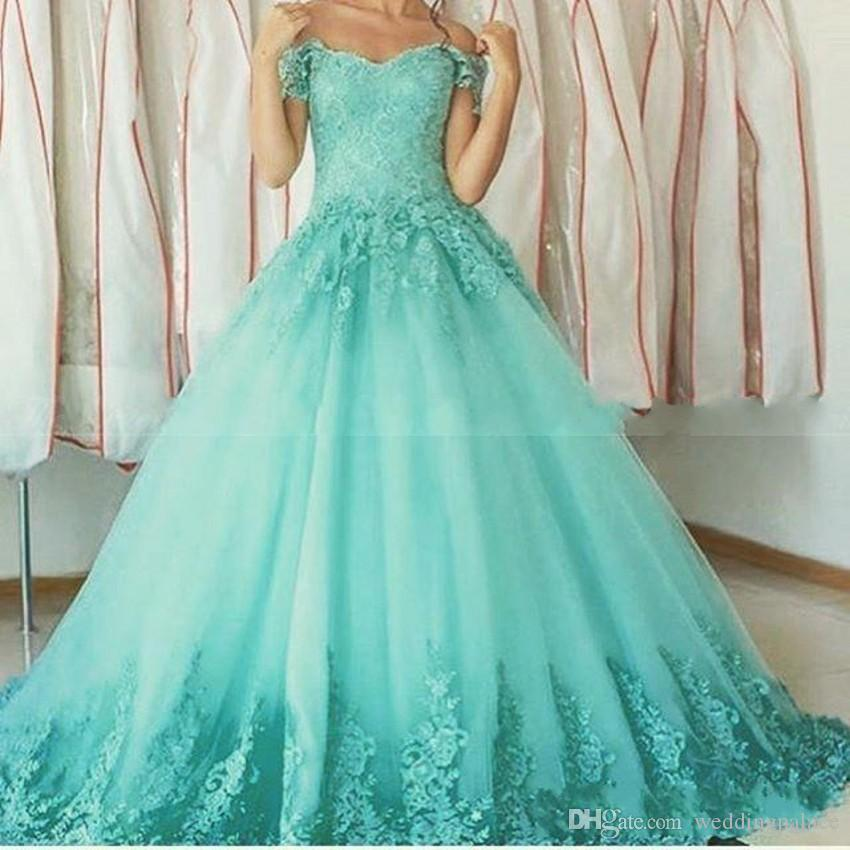Sweet 16 Ball Gowns Aqua Quinceanera Dresses Sweetheart Off the Shoulder Lace Appliques Debutante Prom Dresses Gown