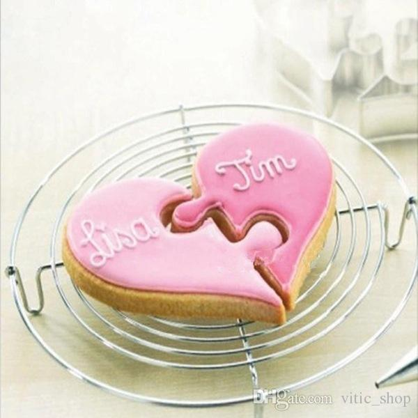 Heart set Cookie Cutter mold Stainless Steel Cake Decorating Tool Kitchen Baking Moulds sandwich Puzzle dough pastry CC11