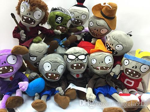 Novo 19 estilos 30 cm 12 inch Plants Vs Zombies recheado macio brinquedos de pelúcia jogo boneca crianças presente de natal EMS grátis E1288
