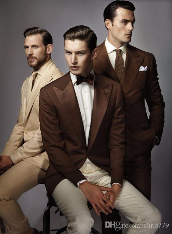 2018 Latest Designs Brown Color Beige Color Suit Wedding Suits ...