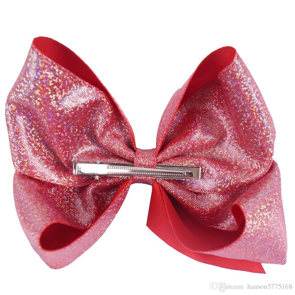 "7"" Glitter Hair Bows With Clips For Kids Girl Princess Handmade Large Leather Bling Bows Hairgrips"