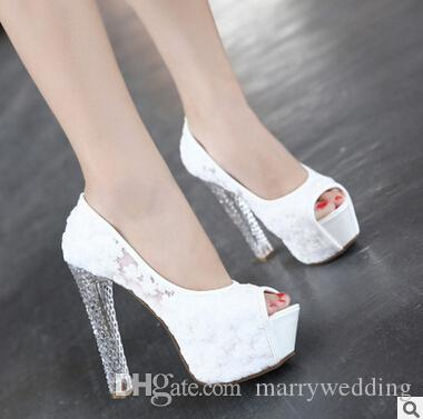 White Lace Peep Toe Wedding Shoes Pink Black 12 13 Cm High Heel Princess  Shoes Fashion Transparent Chunky Heel Shoes For Special Occasion Bridal  Lace Shoes ...