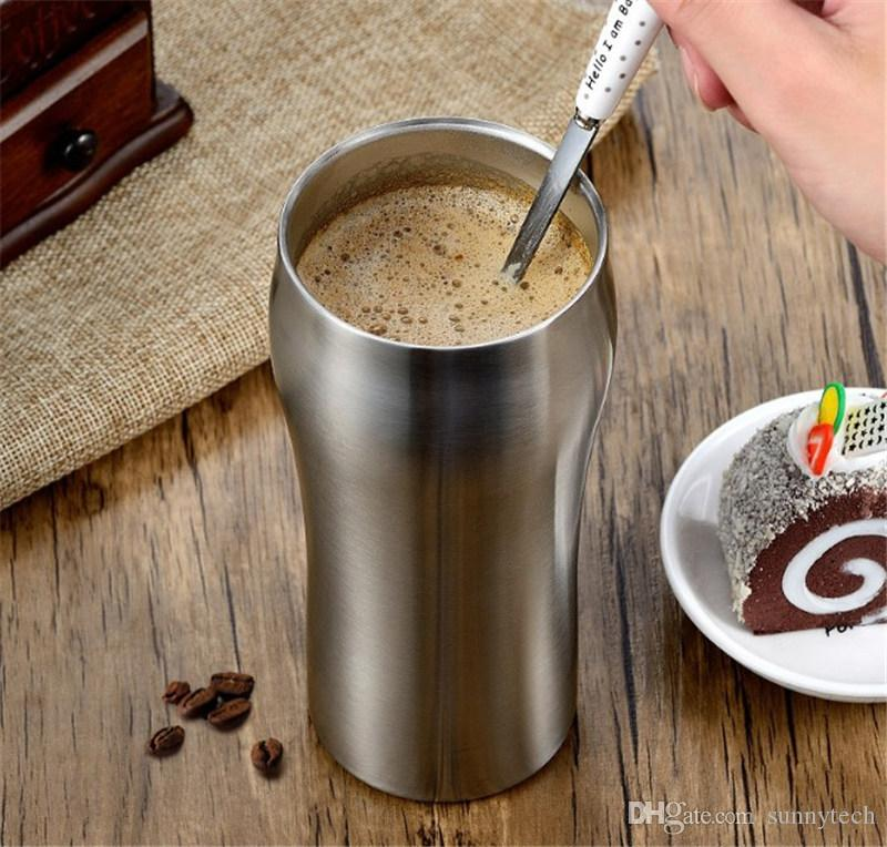 High Quality Double Wall 430ml Stainless Steel Beer Mug Coffee Cup Keep Drink Hot and Cold Mug Cooler Cup Novetly Gifts LZ0355