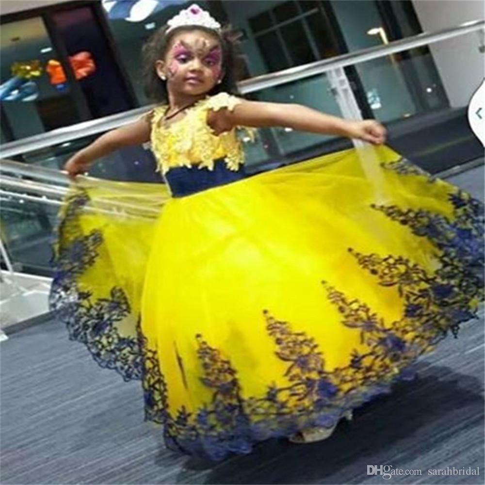 88e98c1b1 2019 Amarillo y azul real de encaje Vestidos de flores para niñas pequeñas  Fiesta nupcial Cenicienta Estilo princesa Vestidos de bola para bodas ...