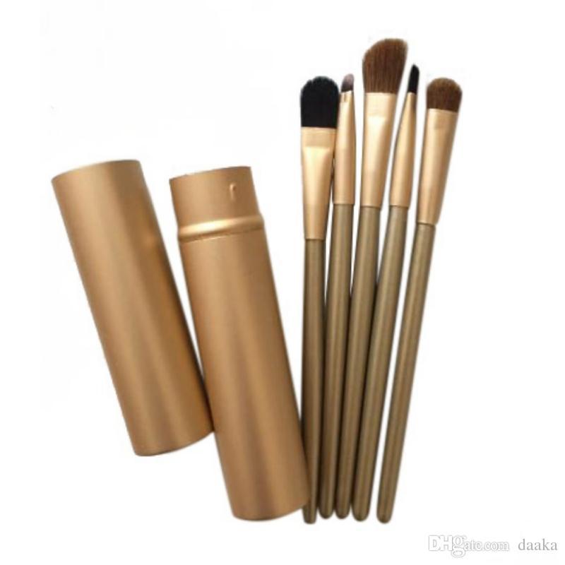 Custom LOGO Akzeptierte Augenbürsten Set Lidschattenpinsel Augenbraue Make-Up Kosmetische Werkzeuge Kit 5 Stücke freies verschiffen