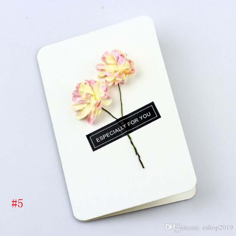 Hot Hand Made Christmas Greeting Cards Dried Flower DIY Vintage Kraft Paper Thank You Cards Anniversary Card Simulation Flower Card