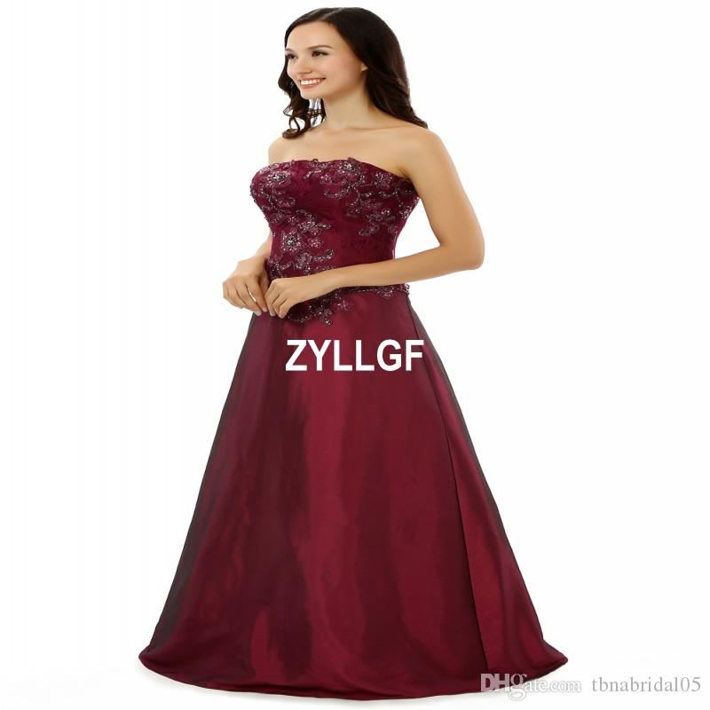Strapless New Arrival High Quality Burgundy Zipper Sleeveless Evening Dresses Plus size Beaded Pattern Dresses Formal Gown Robe De Soiree
