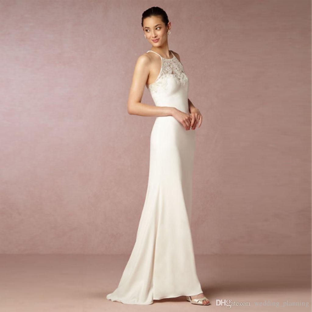 Compre Chic Sheath Beach Wedding Dresses 2017 Encaje Jewel Neckline ...