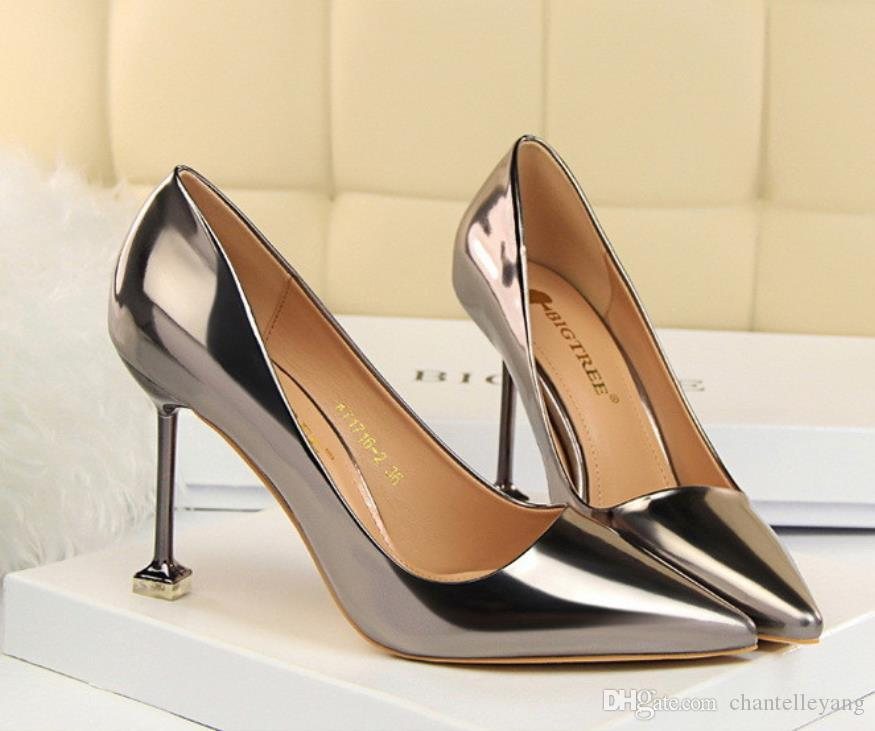 bdc1a4c3da4 New Cheap High Heel Wedding Shoes For Bridal Women Dress Shoes Heels Patent  Leather Pointed Toe Ladies Shoes Black Champagne Gun Gold Silver Wedding  Shoes ...