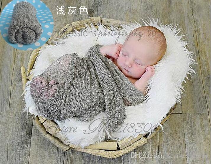 새로운 2017 베이비 사진 소품 배경 코튼 레이온 스트레치 니트 랩 아기 사진 포장 신생아 아기 담요 45 * 160 cm