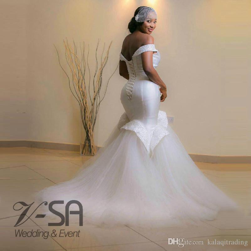 Especiais Sereia Beadings Vestidos de Noiva para Cliente Boipelo Valência Vestencia Nupcial Vestido Off White Marfim