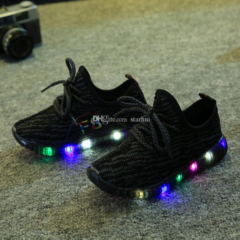 Led Chaussures Garçons Filles Sneakers Chaussures de Noix de Coco Flash Lumière Chaussures Enfants Respirant Chaussures Enfants Doux Bas Chaussures de Course Casual Chaussures WX-C10