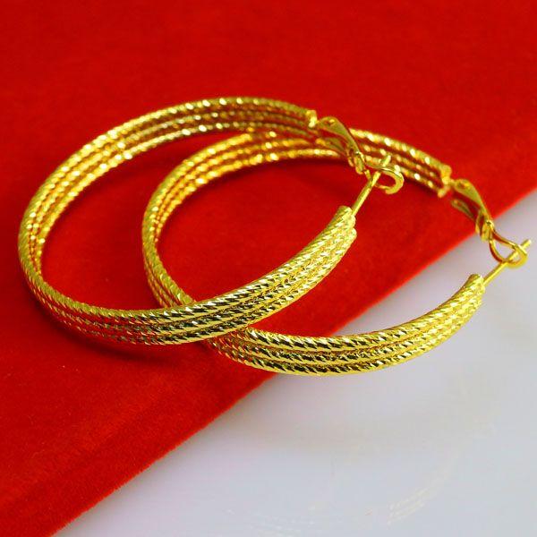 Do not fade gold imitation gold buckle 999 thousand character ear mother Hongkong purchasing gold earrings female ear
