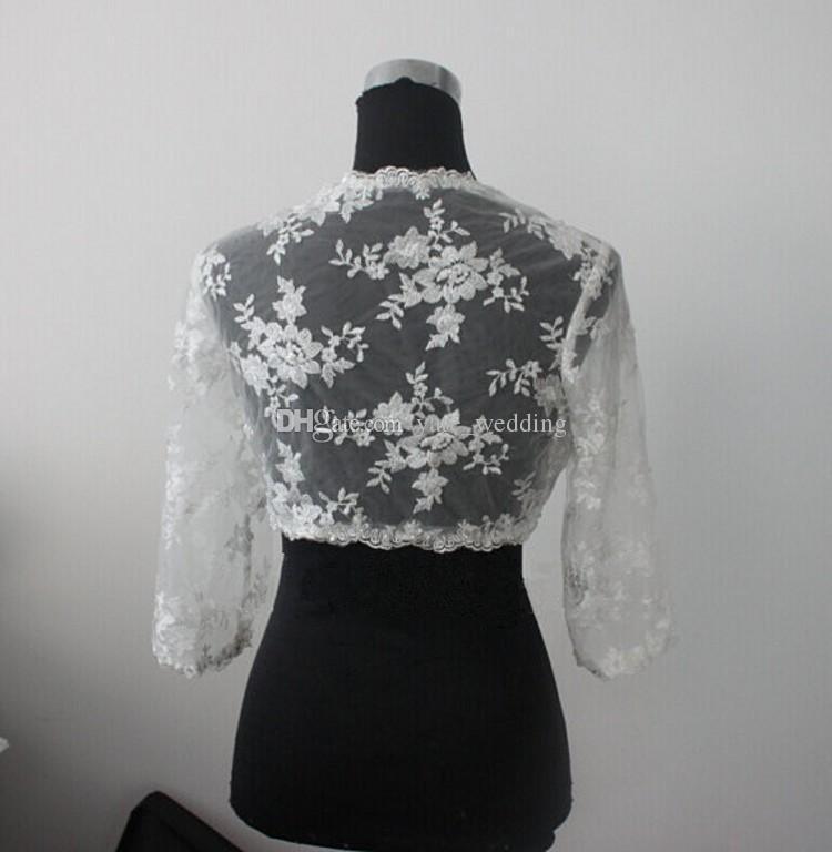 Lace Bridal Jacket Bolero 3/4 Long Sleeves Wedding Jacket Bolero Shrug White Ivory Custom Made Lace Jacket Bolero