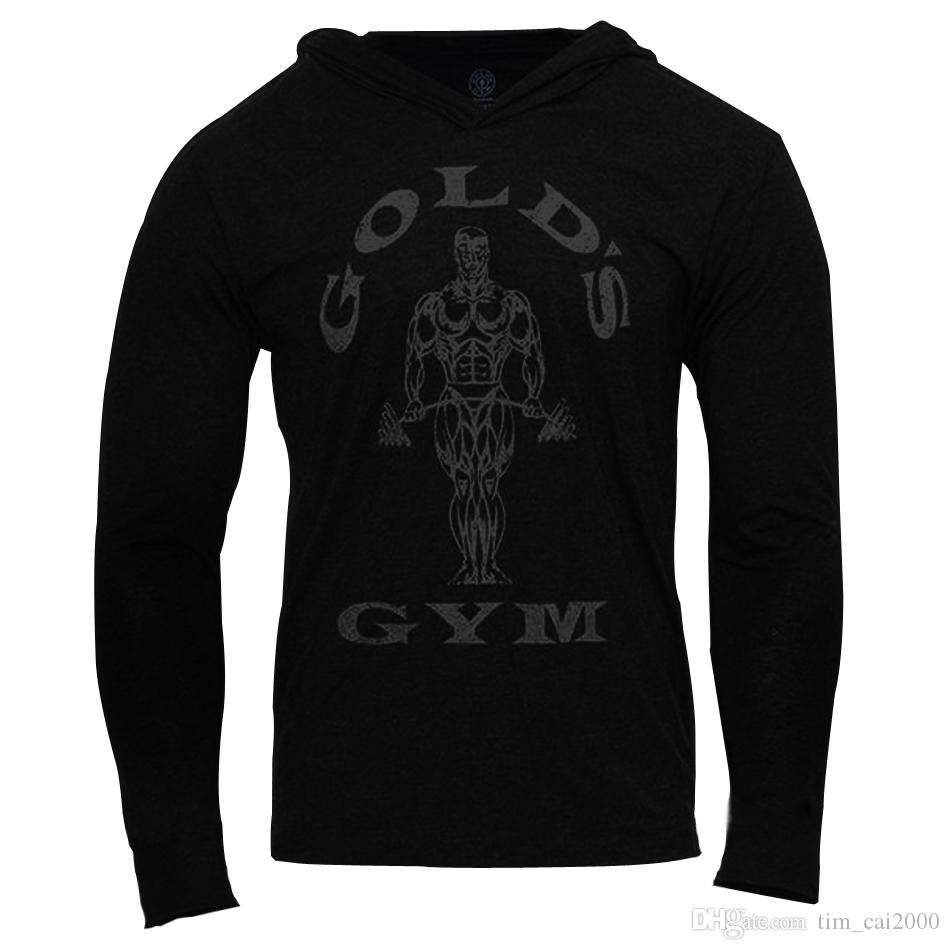 e320e47014d669 2019 Mens Gym Hoodie Long Sleeve Bodybuilding Hoody Men Sports Suits Tank  Top Muscle Shirts Cotton Assassins Creed Gold Gym From Tim cai2000