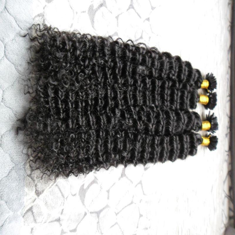 Moğol sapıkça kıvırcık saç 200g Keratin İnsan Fusion Saç Tırnak U İpucu% 100 Remy İnsan Saç Uzantıları