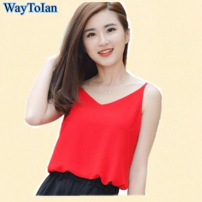 f8f87596b410d5 2019 Wholesale Chiffon Tank Top Women Summer Sleeveless Shirt Sexy V Neck  Camis Loose Casual Female Crop Tops Plus Size Vest Ladies Clothing From  Huoxiang