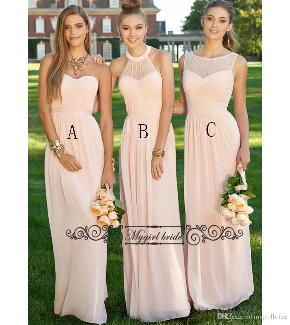 3 Styles A Line Peach Bridesmaid Dresses Floor Length Chiffon Simple ...