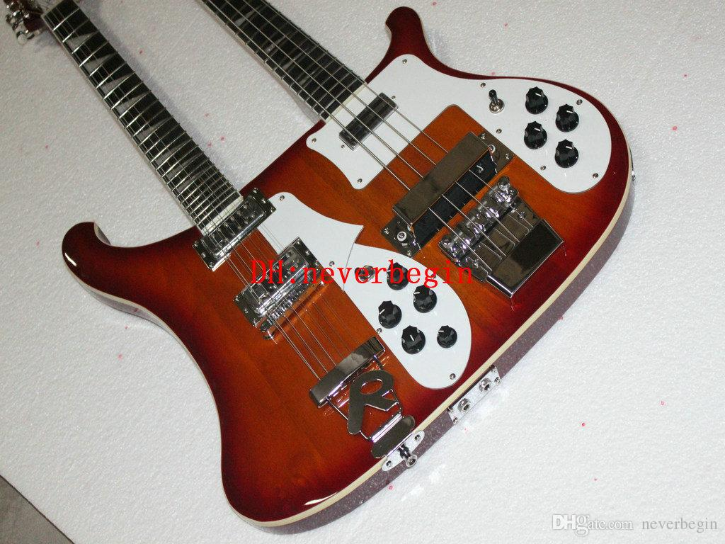 New Double neck bass guitar 4 string bass and 12 string guitar cs sunburst Electric Guitar OEM Available A12345