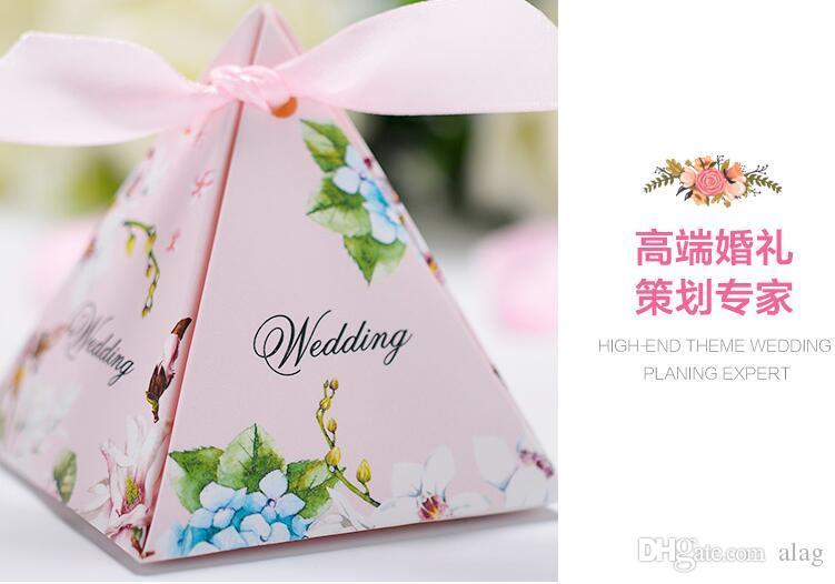 100 Stück europäischen Stil rosa lila blau 3 Farben Perle Papier Dreieck Pyramide Hochzeit Box Pralinenschachtel Geschenk-Boxen Hochzeit Gunst Boxen THZ187