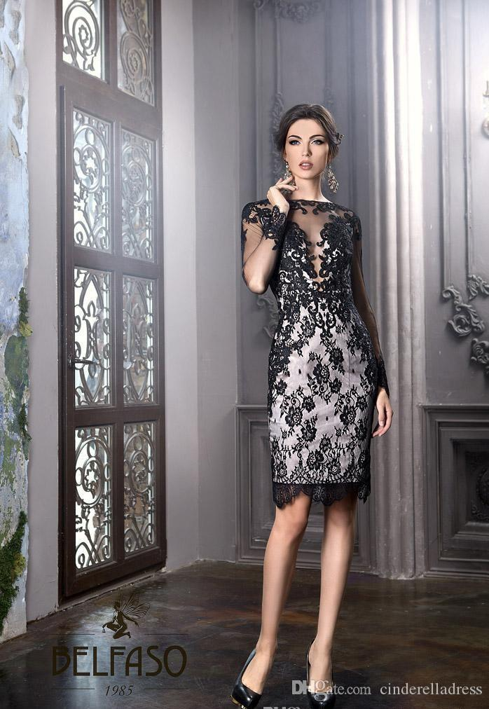 2018 New Little Black Dresses Bateau Sheath Knee Length Elegant Plus Size Mother Of The Bride Groom Dresses Sheer lace Sexy Cocktail Gowns