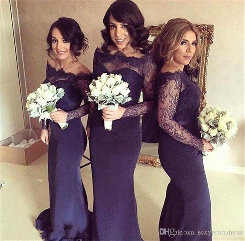 2017 Dark Navy Blue Off Shoulder Lace Long Sleeve Bridesmaid Dresses ...