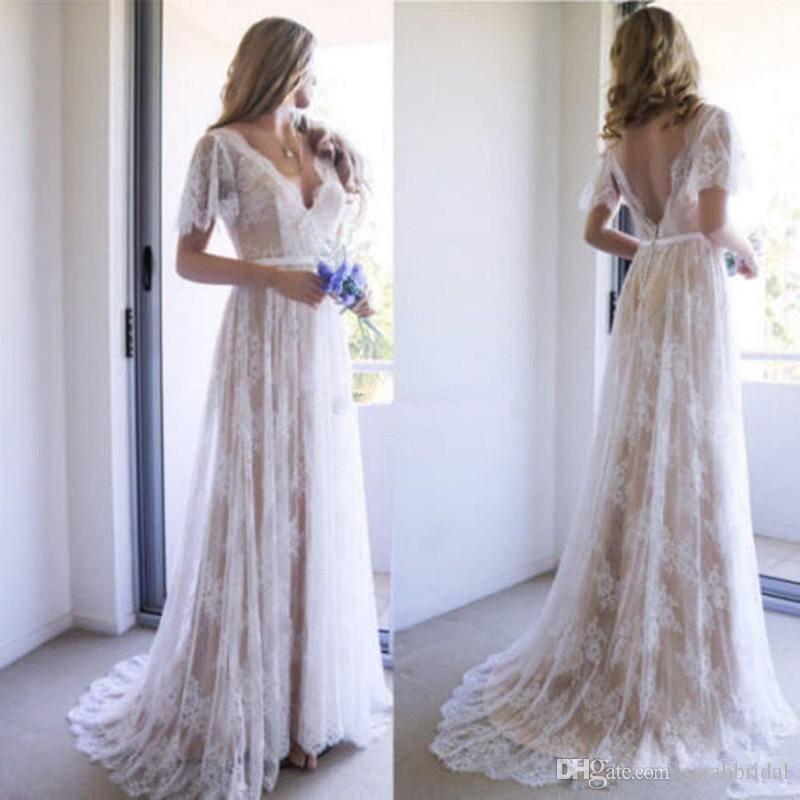 Bohemian Elegant Summer Wedding Dresses v Neck Short Sleeves Lace Wedding Gowns Sweep Train Backless A Line Custom Made Bridal Dresses Cheap